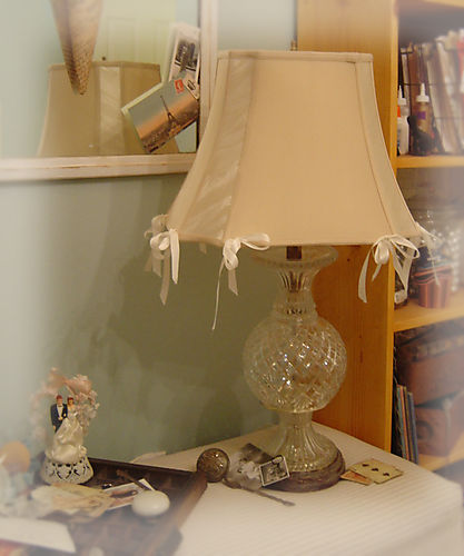 A shabby ribbon lampshade redo
