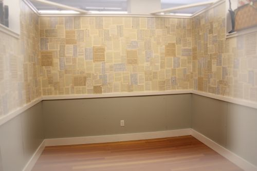 Booth papered half way 001