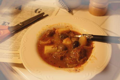 Yummy pork fennel olive stew