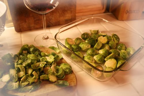 Brussel sprouts before roasting