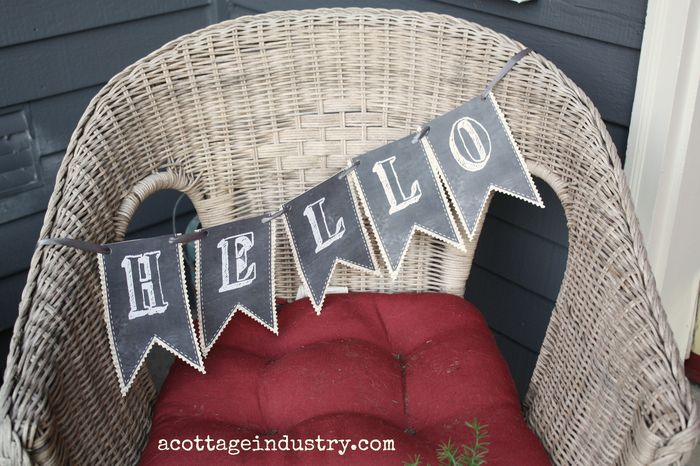 Free printable chalkboard hello banner close up