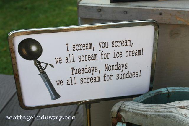 Ice cream signs  sundaes acottageindustry.com