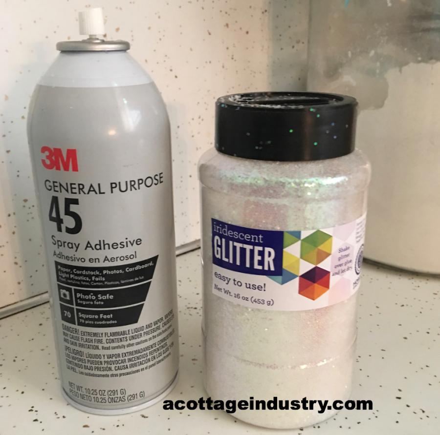 craft spray glue and glitter
