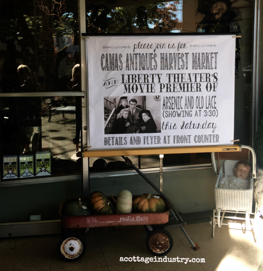 poster for camas antiques harvest market