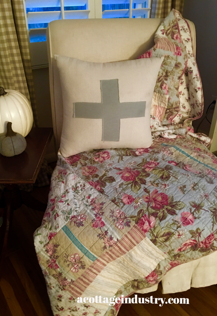 etsy pillow with Marshall's Quilt