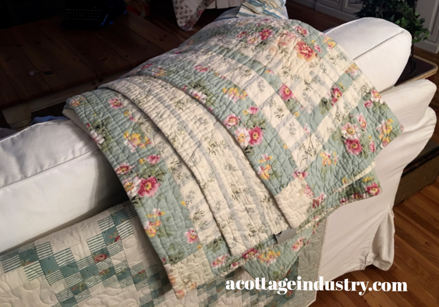New old robins egg blue quilt