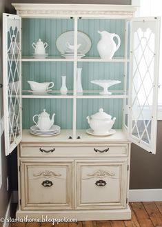 White and pale blue hutch