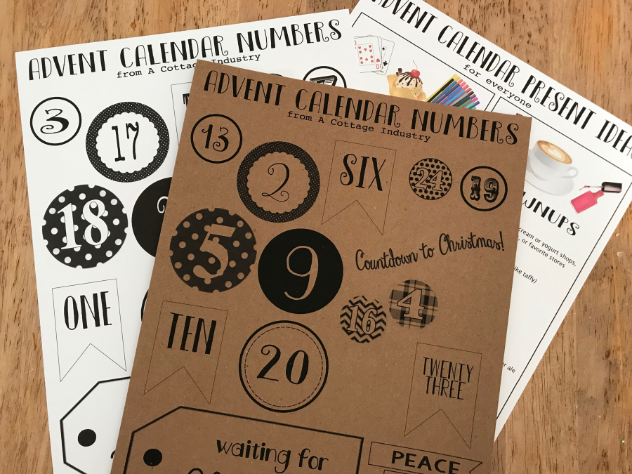 Advent Calendar Numbers and Papers